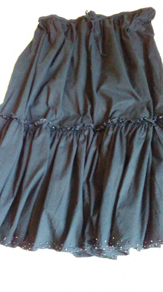 Czarna spódnica boho etno hippie plus size falbana koraliki
