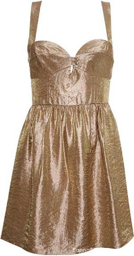 Top shop złota metaliczna sukienka kloszowana wyci