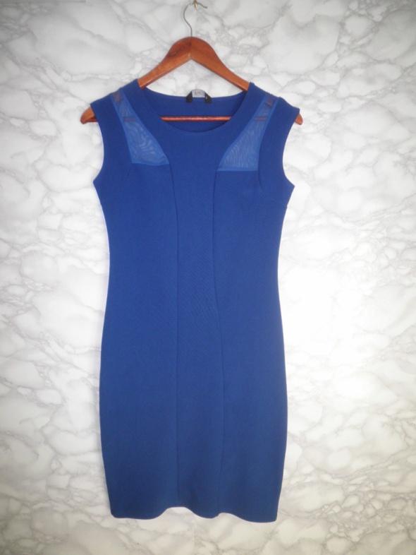 F&F elegancka ołówkowa niebieska kobaltowa sukienka siateczka 38 M