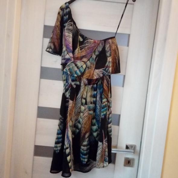 Wyprzedaż zwiewna letnia sukienka w pióra 34 36
