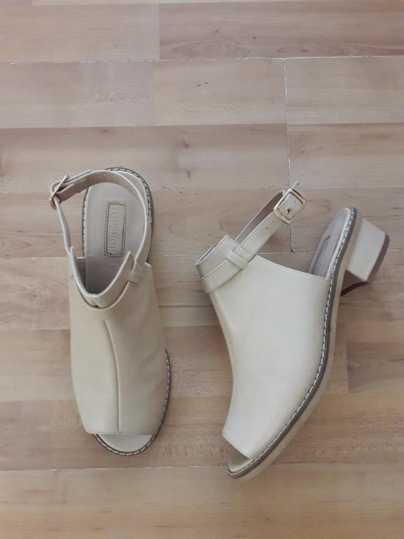 Beż nude skóra basic buty open toe