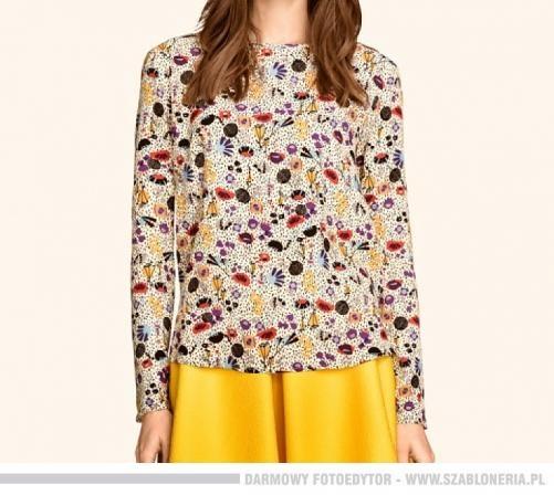 H&M asymetryczna bluzka z tyłu zapinana na guziki multicolor