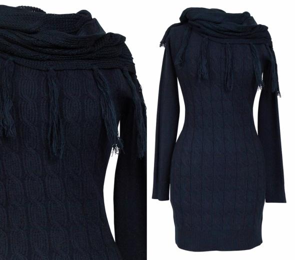 Swetry DŁUGI SWETER WARKOCZ I KOMIN GRANATOWY L XL