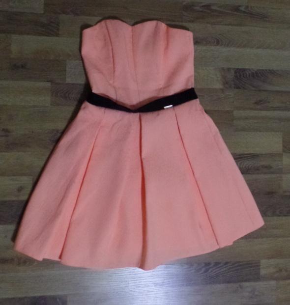 sukienka łososiowa róż pomarańcz