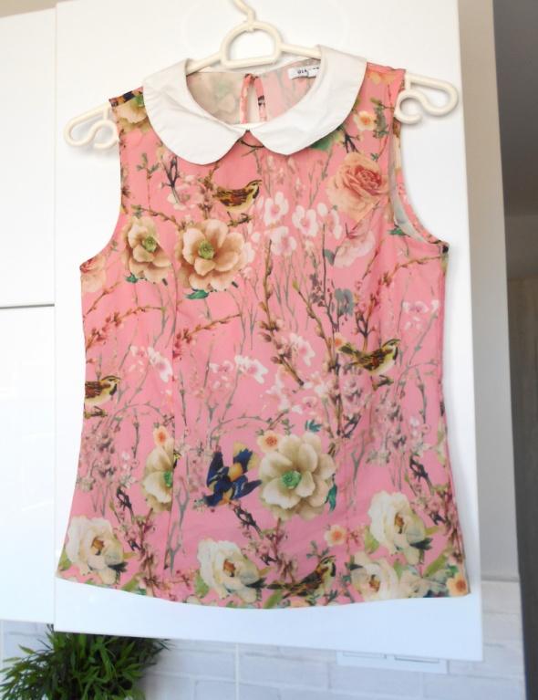 Glamorous bluzka floral kwiaty z kołnierzykiem collar...