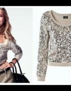 Sweter beż nude brąz cekiny H&M