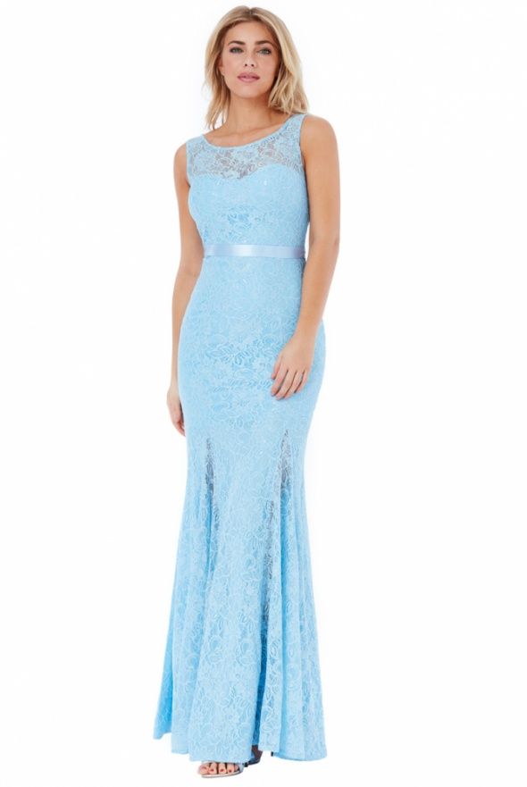 Długa błękitna koronkowa sukienka odkryte plecy