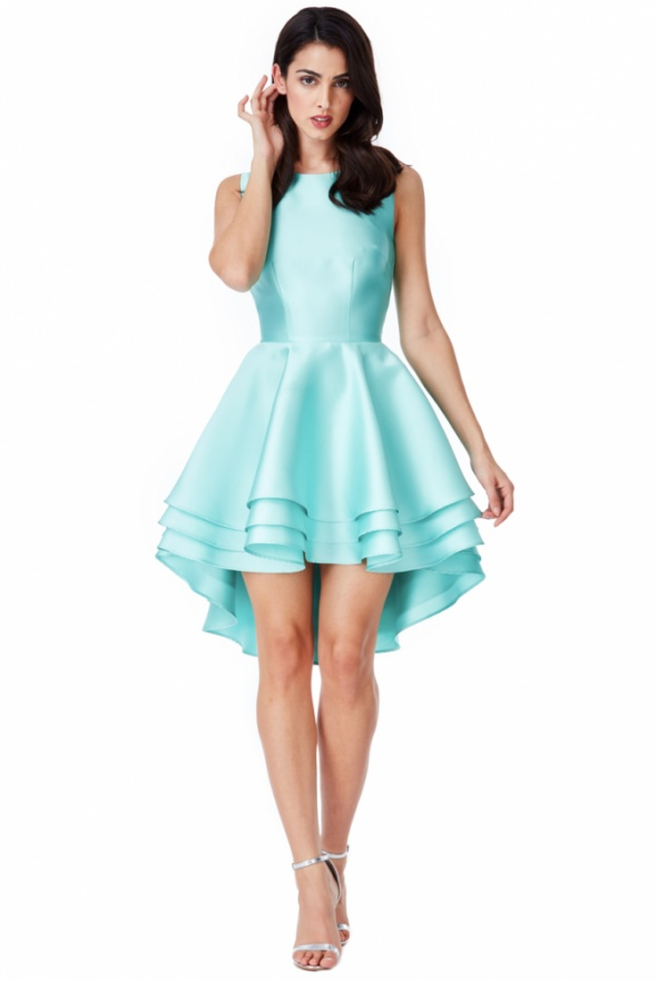 Asymetryczna miętowa sukienka na wesele