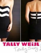 Czarno biała sukienka z zamkiem Tally Weijl xs 34...