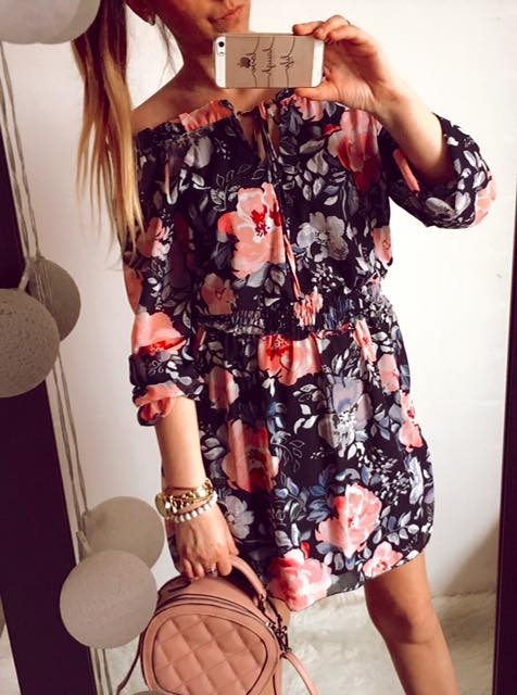 Sukienka Damska w kwiaty hiszpanka M L