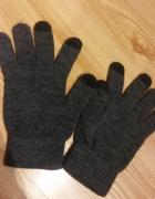 szare rękawiczki z opuszkami do telefonów dotykowych...
