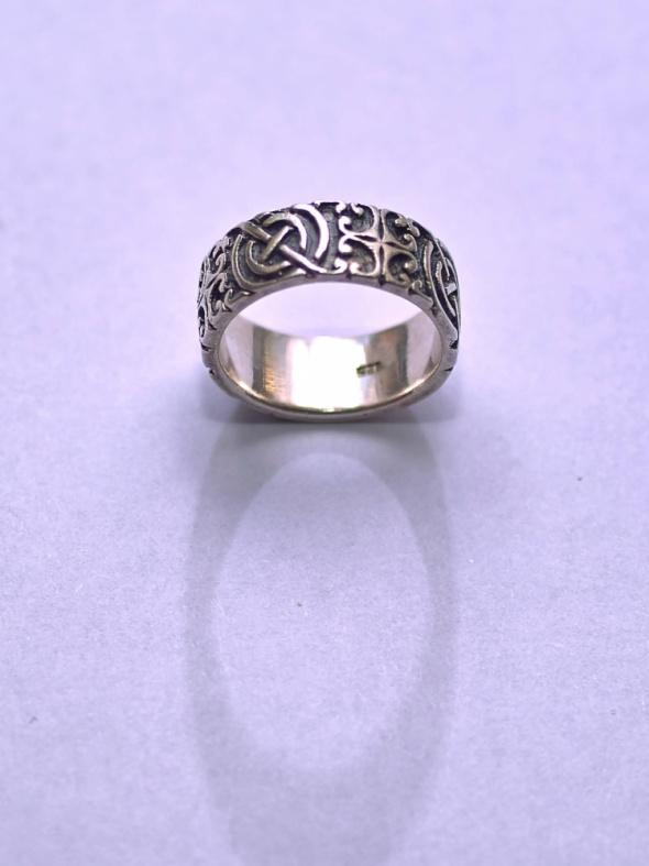 Obrączka srebrna ze wzorem Próba 925