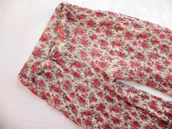 Spodnie dzwony kwiaty floral hippie 36