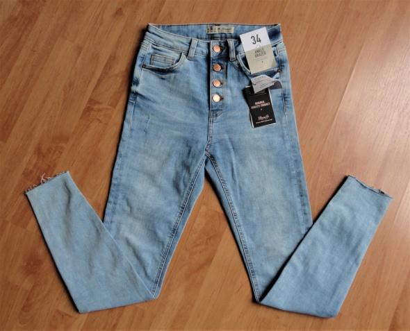 Nowe jeansowe spodnie jeansy rurki wysoki stan Primark xs s