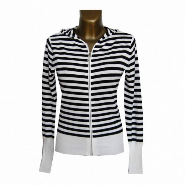 Biała Czarna Bluza Sweter w Paski 38 M