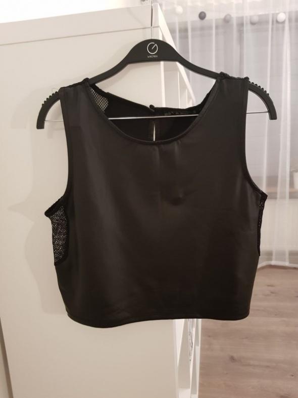 czarna bluzeczka z siatką ala skórka
