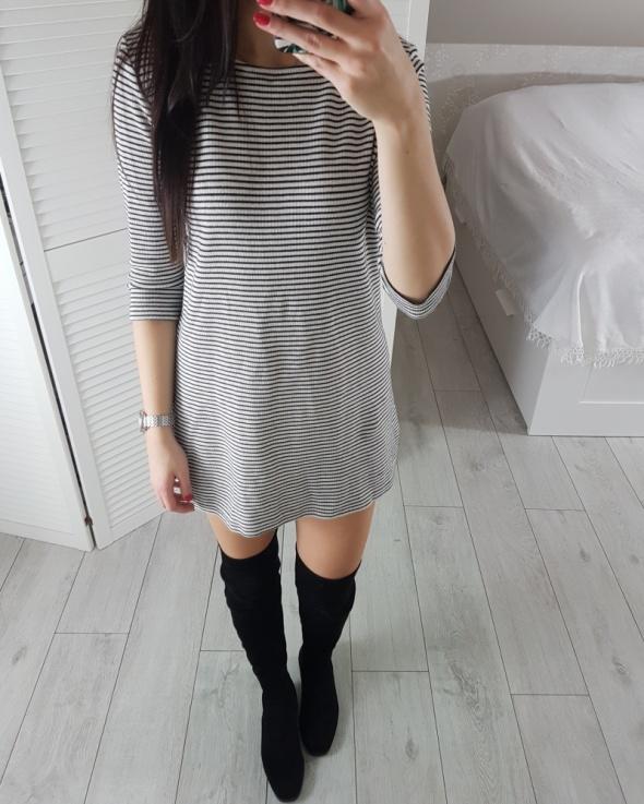Mango S 36 prążkowana sukienka w paski dla niskiej osoby bardzo krótka