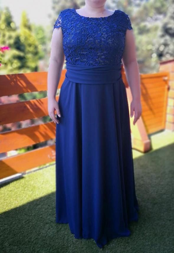 Długa granatowa suknia 46 wesele maskuje brzuszek duże biodra