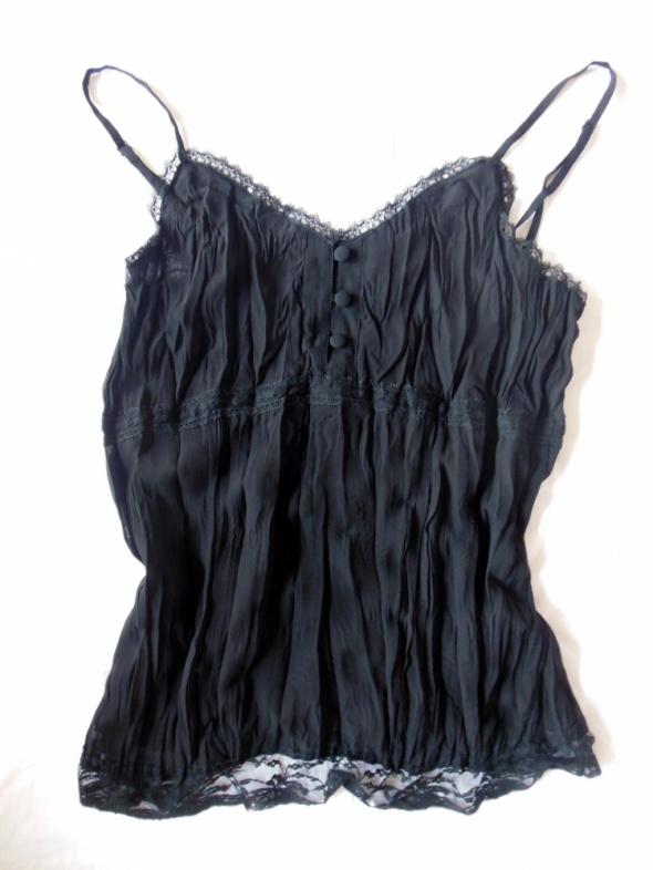 New Look czarna bluzka na szelkach mięta top na sz