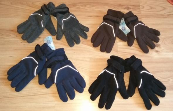Nowe polarowe rękawiczki czarne brązowe granatowe szare rozmiar 23 25