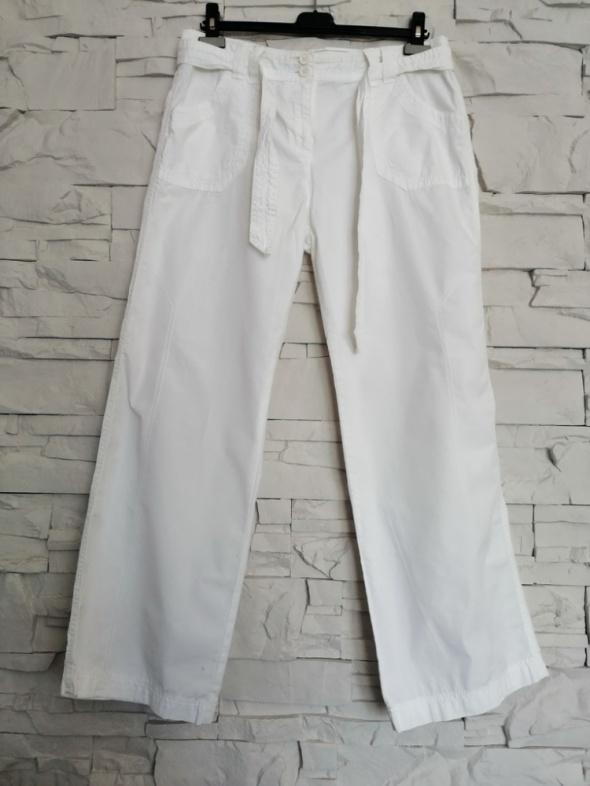 Białe proste spodnie Marks&Spencer 42 XL lato