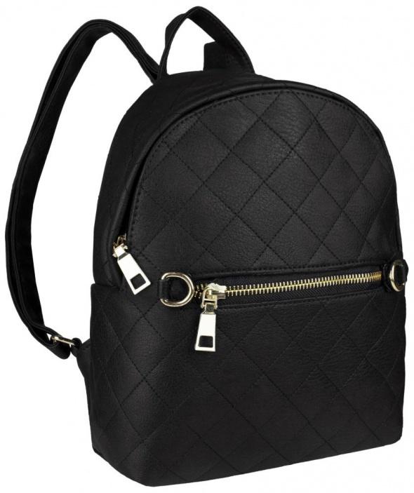 Czarny pikowany plecak klasyka
