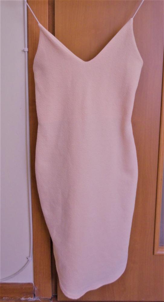 Ołówkowa sukienka ramiączka pudrowy róż xs s