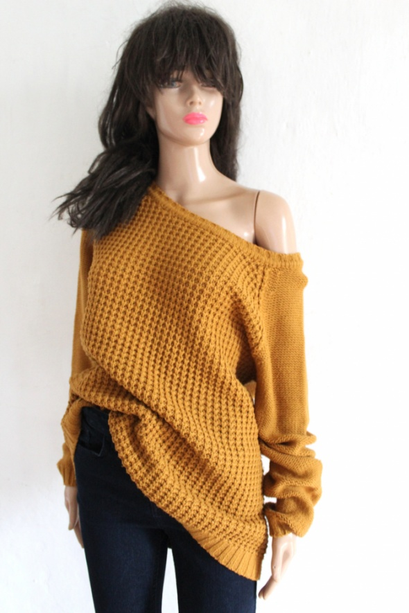 Musztardowy sweter r L...