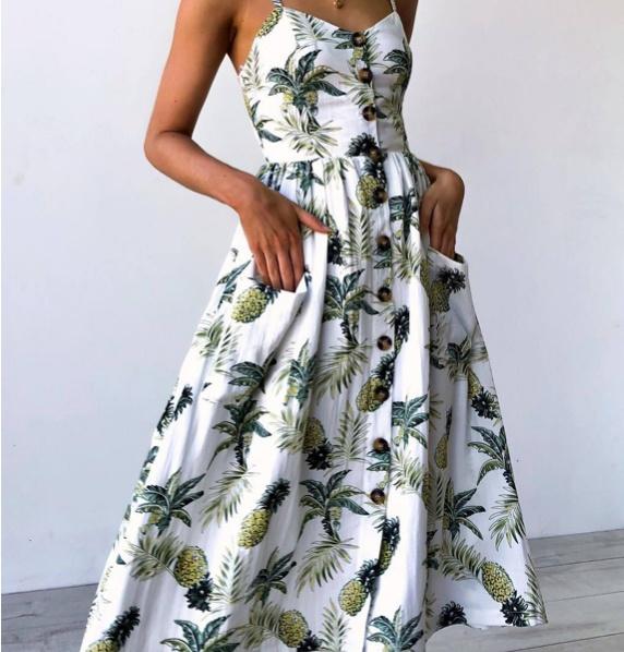 Suknie i sukienki Sukienka letnia z ananasowym motywem
