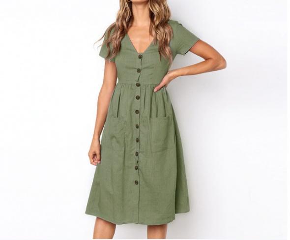 Zielona sukienka z krótkim rękawkiem