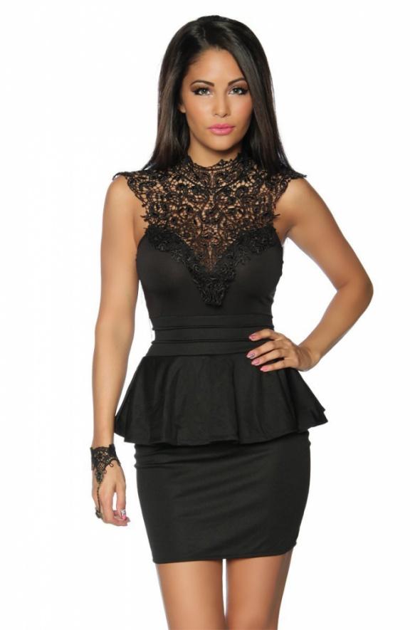 sexy baskinka czarna haft dekold mini ramiona plecy 38 40
