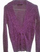 Fioletowy brokatowy sweterek rozpinany Reserved...