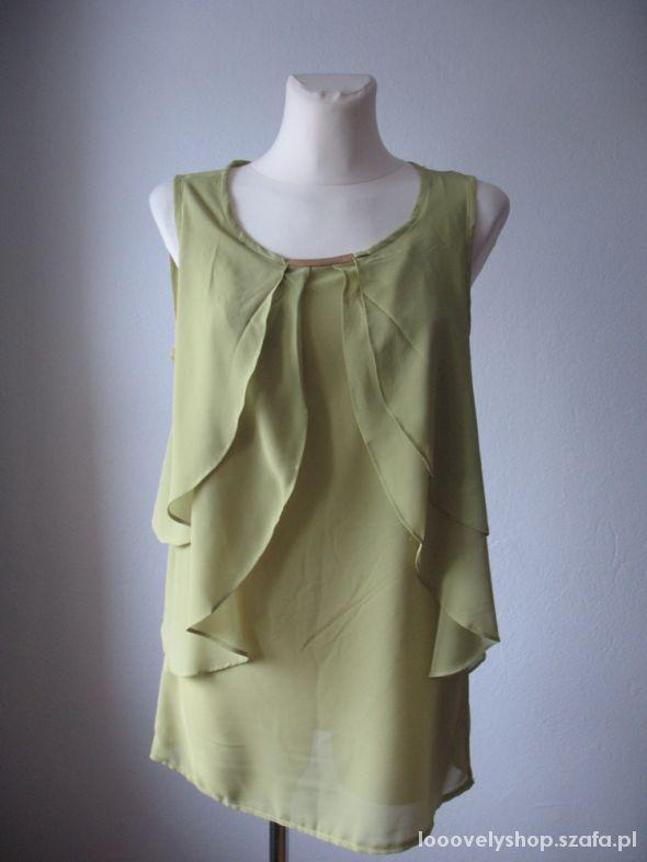 Nowa bluzka falbany oliwkowa LXL