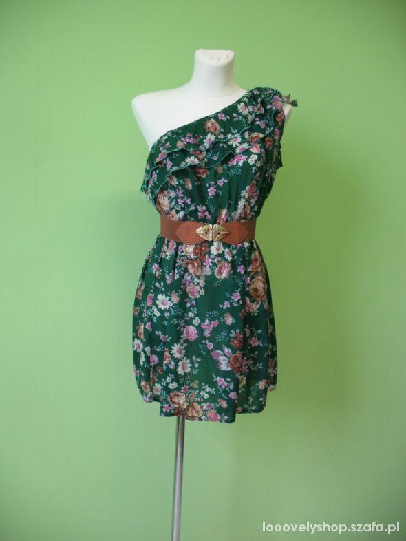 Sukienka na jedno ramię letnia kwiaty L XL i XXL