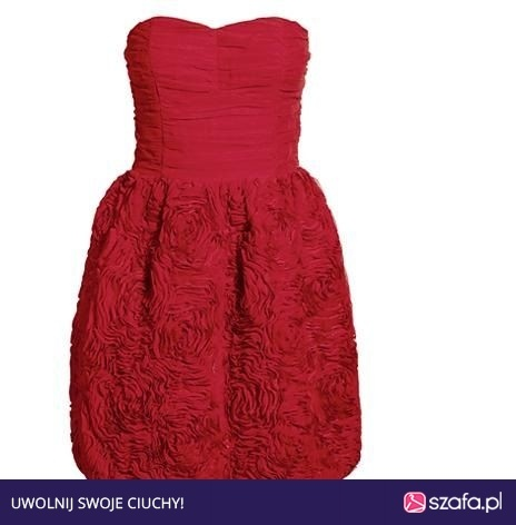 Sukienka H&M Garden Róże Gorsetowa czerwona