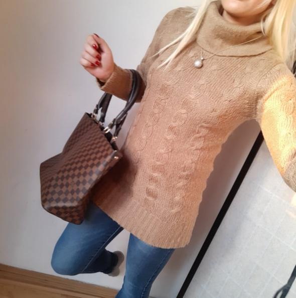 sweter bezowy brązowy długi z golfem r S Vero Moda...