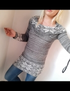 sweter wzór norweski norweskie długi z golfem szary r S...