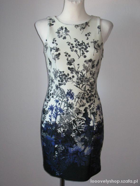 Sukienka ecru fiolet S