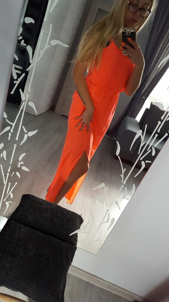sukienka maxi pomarańcz neon 34 36