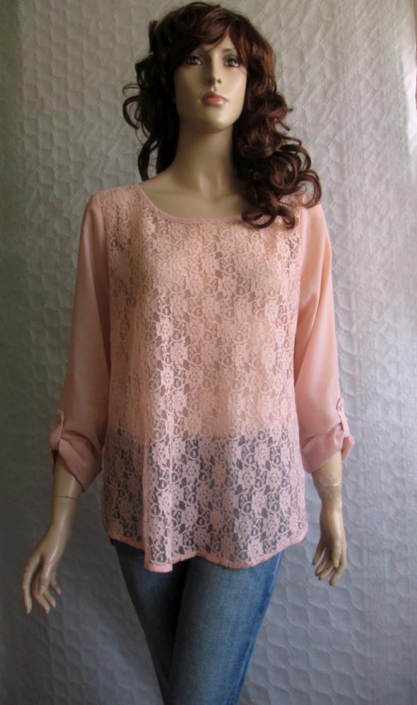 Vero Moda różowa pudrowa bluzka koronka 40...