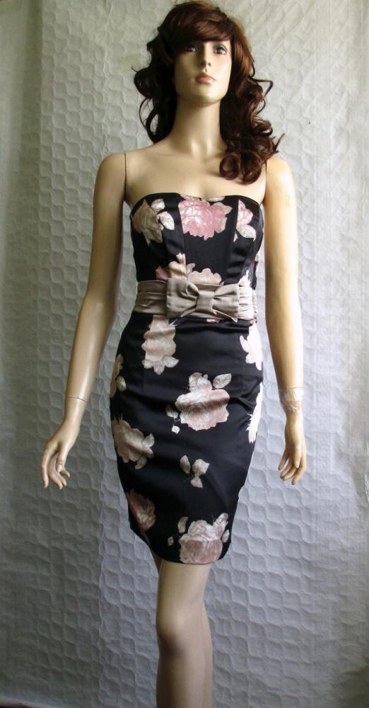6316c76d0ca101 HM czarna gorsetowa sukienka róże wizytowa 34 w Suknie i sukienki ...
