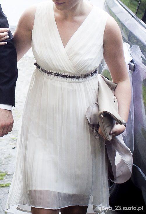 Śliczna kremowa sukienka MOLTON 36 S...