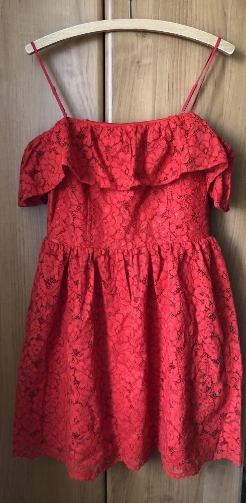 H&M sukienka czerwona koronka 38 M...