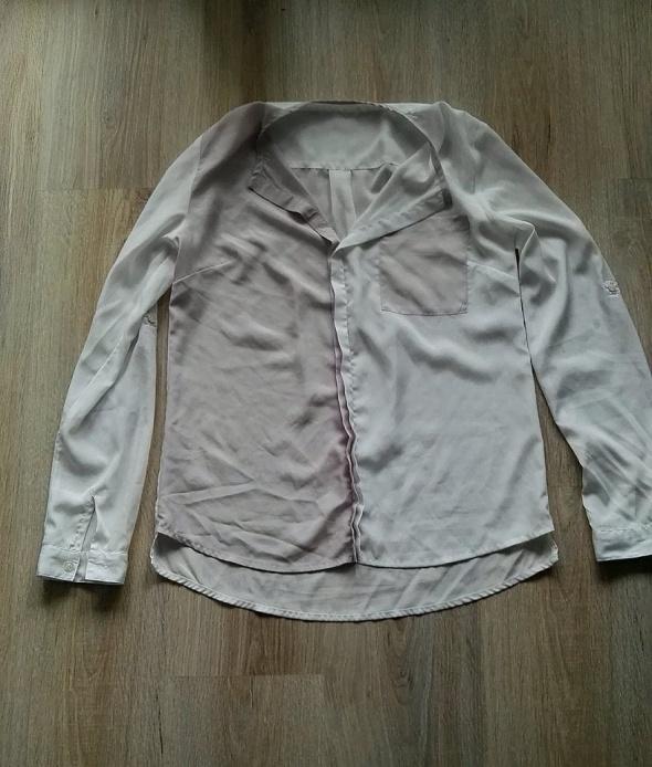 Koszula bluzka dwukolorowa elegancka 38 M pudrowy róż i biel