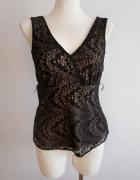 Elegancka ażurowa bluzeczka koronkowa nude XS S