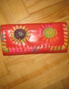 czerwony oryginalny portfel skórzany hit tanio