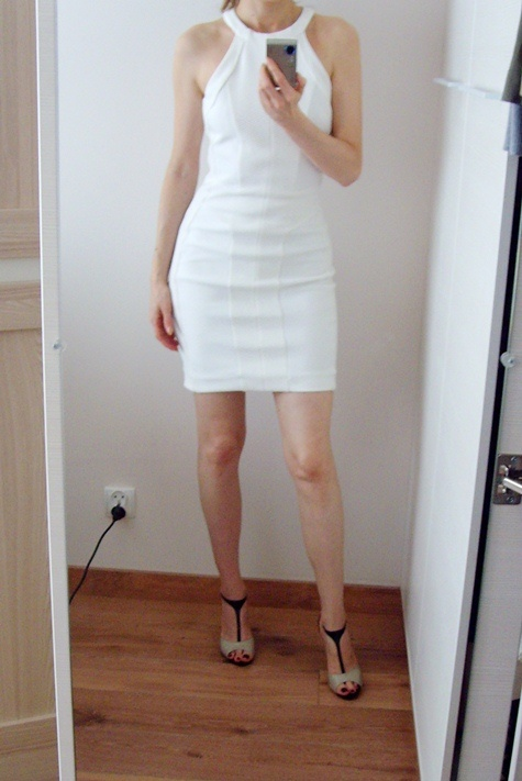 Mango sukienka tuba biała 34 XS