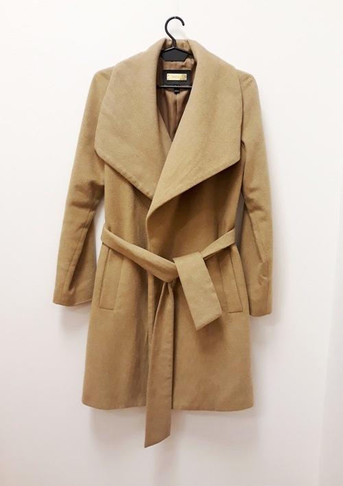 Mango Suit płaszcz przejściowy camel wiązany waterfall 34 XS