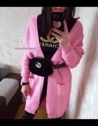 NOWY różowy kardigan długi sweterek...