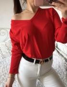 sweter piękny dekolt czerwony sexy opadające ramie zara h&m bershka